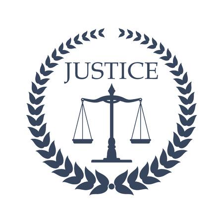 Illustration pour Law firm, lawyer or law office symbol. Scales of justice, framed by heraldic laurel wreath. Lawyer card, law firm logo, legal center emblem design - image libre de droit