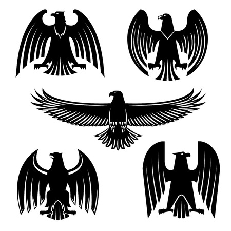Black eagle, hawk or falcon heraldic symbol set. Flying and standing wild birds silhouettes with open wings. Sporting mascot, tribal tattoo, coat of arms design