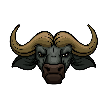 Ilustración de Black buffalo mascot icon of wild bull or african bison bovine animal muzzle or snout with horns. Isolated emblem or blazon for sport team, nature adventure club or tattoo sign - Imagen libre de derechos