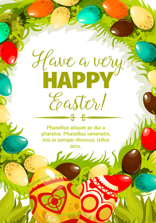 Illustration pour Easter egg festive poster. Decorated Easter eggs with folk ornaments, green grass and leaves twined into floral wreath with wishes of Happy Easter in center. Spring holidays, Egg hunt themes design - image libre de droit