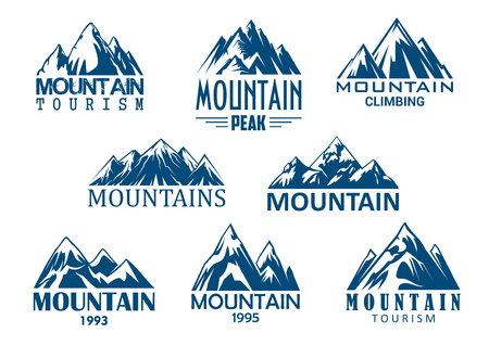 Illustration pour Mountain peak icon for outdoor adventure design - image libre de droit