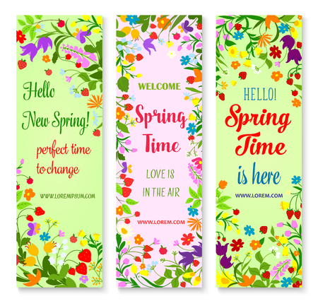 Illustration pour Vector banners set for spring time greetings - image libre de droit