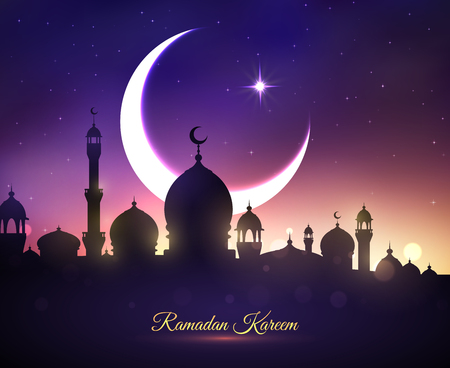 Illustration pour Ramadan Kareem or Ramazan Mubarak greeting card with mosque minarets, crescent moon and twinkling star in blue night sky. Vector design for Islamic or Muslim traditional religious holiday celebration - image libre de droit