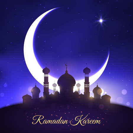 Illustration pour Vector Greeting for Ramadan Kareem Muslim holiday - image libre de droit