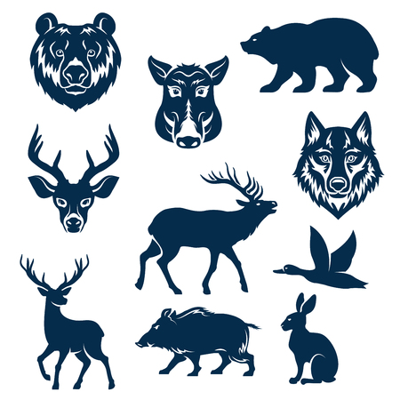 Illustration pour Vector icons of wild animals and birds for hunting - image libre de droit
