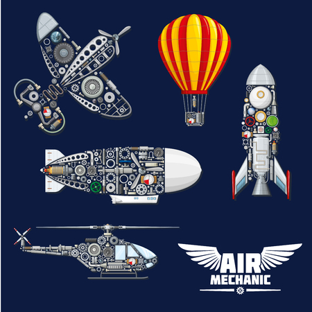 Illustration pour Air mechanics vector aircrafts and mechanisms. Construction parts, engines or gears, gauges, and screw nuts elements of airplane, hot air balloon, helicopter, spaceship rocket or airship zeppelin - image libre de droit