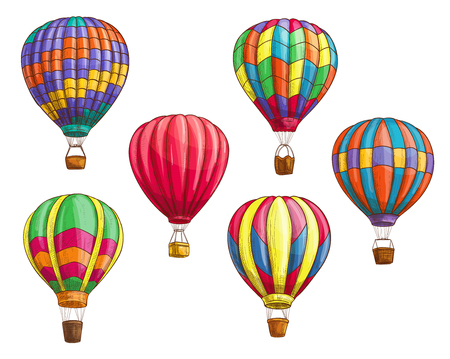 Ilustración de Hot air balloon with pattern ornament design. Vector sketch icons of isolated inflated hopper baloons or cloudhopper aircrafts with zig zag, stripes or square patch decor and air trip gondola - Imagen libre de derechos
