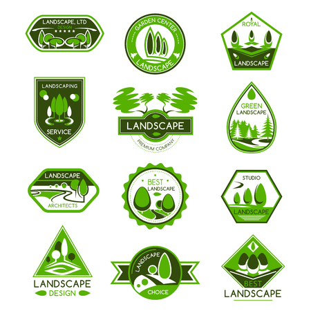 Illustration pour Landscape design isolated badge set. Park and garden landscape architecture studio and gardening center emblem with green tree and plant for landscaping service design - image libre de droit