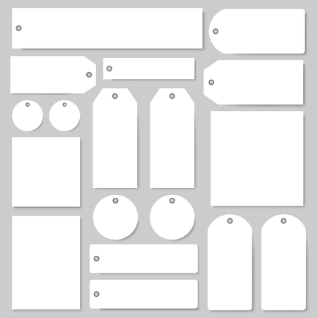 Illustration for Tags and labels blank vector templates set. Isolated paper price tags with empty copy spaces for shop or product sale discount shopping elements in round circle and square shape with holes - Royalty Free Image