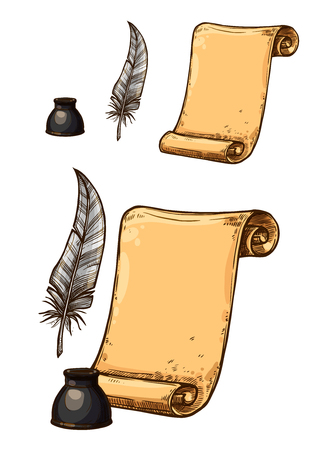 Illustration pour A Vector icons of old paper roll and ink feather pen - image libre de droit