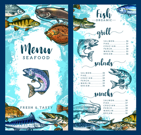 Illustration pour Seafood and fish restaurant menu template of fresh fish dishes. Vector price for grill salmon, pike, crucian or perch and marlin or bream, seafood gourmet snacks and salads or delicatessen appetizers - image libre de droit