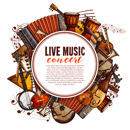 Illustration pour Live music concert poster of musical instruments. Vector design of folk accordion, ethnic jembe drums, jazz saxophone and fiddle violin, banjo guitar and balalaika or biwa harp and music notes stave - image libre de droit