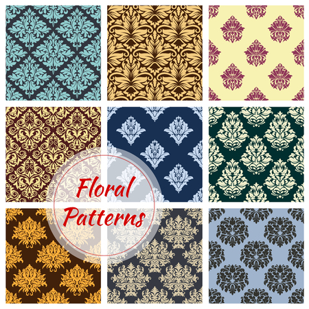 Ilustración de Floral seamless vector patterns of flower ornament - Imagen libre de derechos