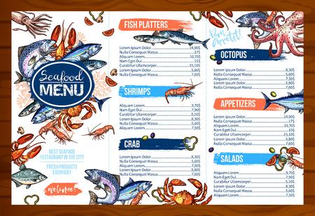 Illustration pour Vector menu for seafood or fish seafood restaurant - image libre de droit