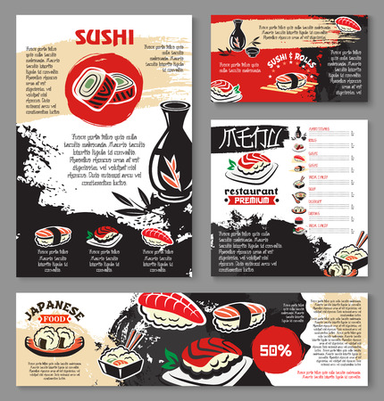 Ilustración de Japanese seafood restaurant poster and banner template design. Sushi and asian food menu card or flyer design with sushi roll with fish and shrimp, fried seafood rice, noodle soup, tea and sake drink - Imagen libre de derechos
