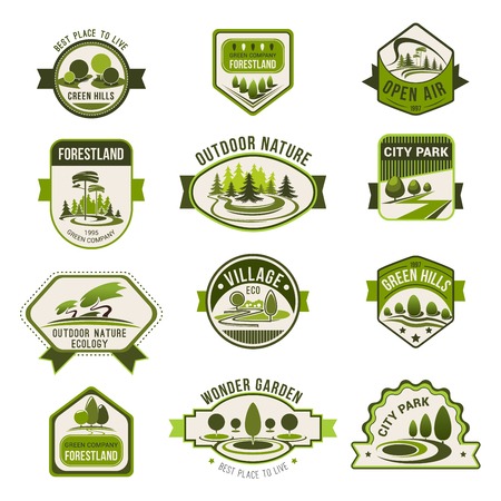 Ilustración de Park, green city garden, eco landscape design, forest nature badge set. Green tree with decorative grass lawn isolated icon for ecology, landscaping, greenhouse and eco friendly business theme design - Imagen libre de derechos