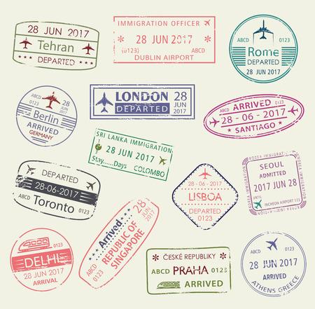 Illustration pour Passport stamp of travel visa isolated set design - image libre de droit