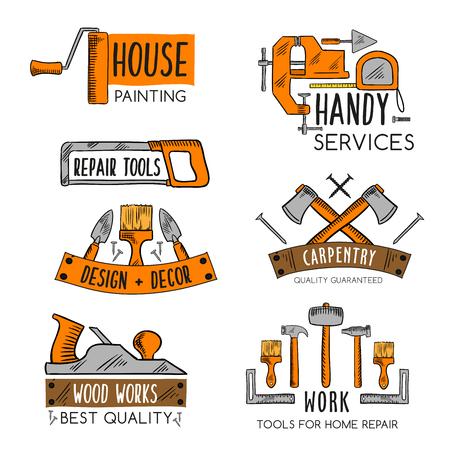 Ilustración de Vector icons template of home repair handy service - Imagen libre de derechos