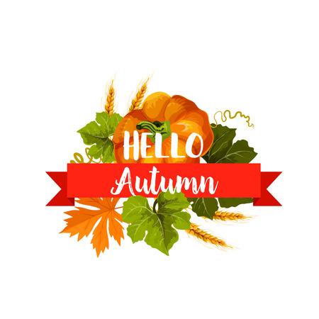 Illustration pour Hello Autumn icon with leaf and pumpkin vegetable - image libre de droit