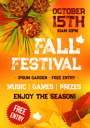 Illustration pour Fall harvest festival and autumn season party banner. Fallen leaves, orange and yellow maple foliage, pine tree branch with pinecone and text layout for poster or invitation flyer template design - image libre de droit