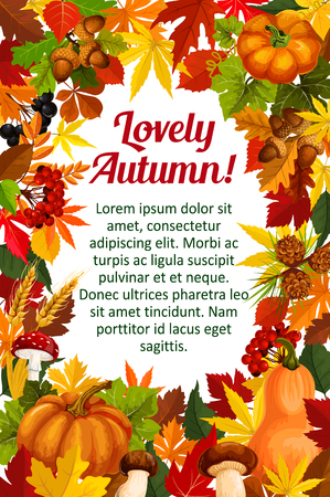 Illustration for Autumn leaf poster template with fall nature frame - Royalty Free Image