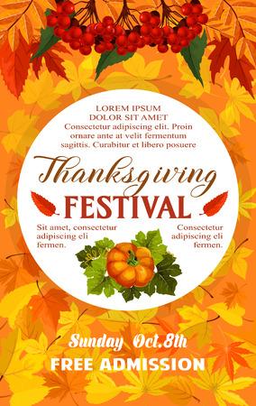 Illustration pour Thanksgiving Day festival banner of autumn harvest - image libre de droit
