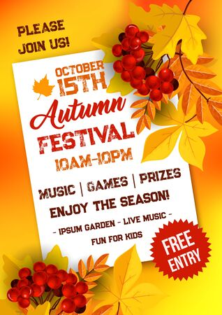 Illustration pour Autumn festival poster template with yellow leaves - image libre de droit