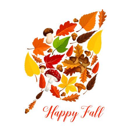 Illustration pour Autumn leaf with mushroom, fallen foliage, acorn - image libre de droit