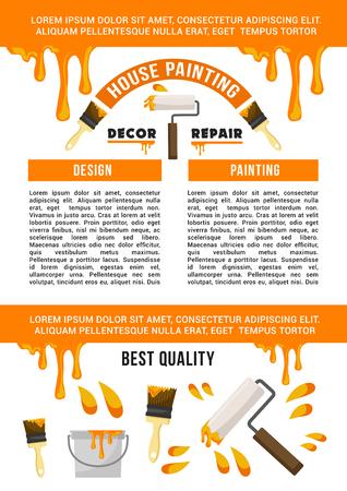 Ilustración de Home repair and painting service banner template - Imagen libre de derechos