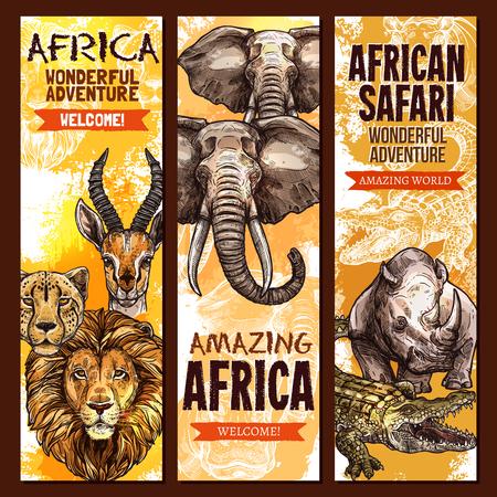 Illustration for African safari wild animal, outdoor adventure banner set. - Royalty Free Image