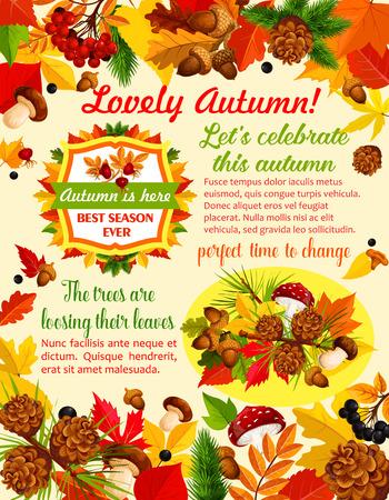 Illustration pour Autumn banner template with fall nature leaf - image libre de droit