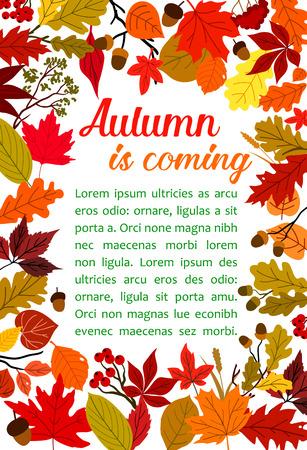 Illustration pour Autumn fallen leaf poster with fall nature frame - image libre de droit