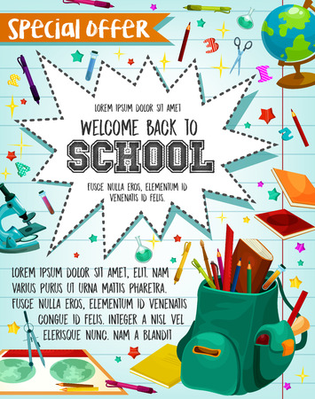 Illustration for Back to School sale or special promo offer poster for September school season discount. - Royalty Free Image