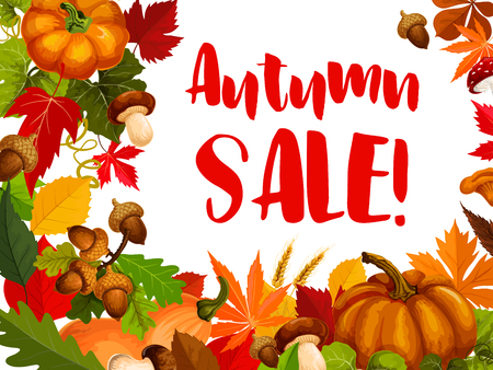 Illustration for Autumn seasonal sale offer promotion poster. - Royalty Free Image
