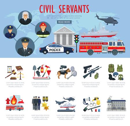 Illustration pour Poster of civil servants, judge, police and aviation - image libre de droit