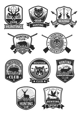Ilustración de Hunting club hunt adventure vector icons - Imagen libre de derechos