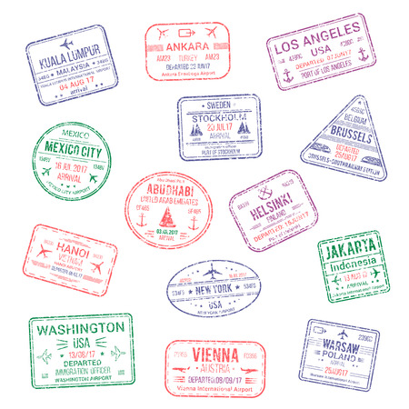 Illustration pour Passport city names stamps set. Kuala Lumpur, Ankara or America Los Angeles and Helsinki, Brussels, Abu Dhabi or Jakarta, Warsaw, Vienna and New York USA travel country arrival vector isolated icons - image libre de droit