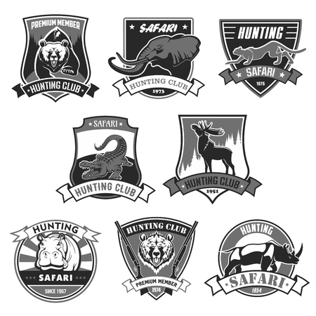 Illustration for Hunting club icons for hunter african forest or open season. Vector isolated badges set wild animals grizzly bear, elephant and cheetah panther or leopard, alligator crocodile, deer elk and rhinoceros - Royalty Free Image