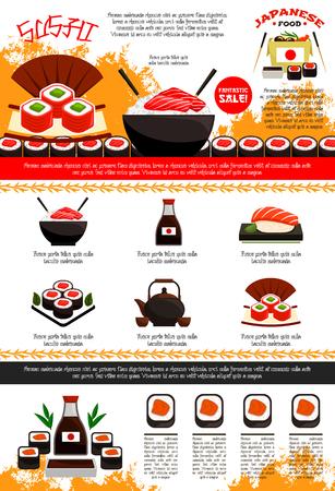 Ilustración de Sushi bar and Japanese restaurant poster or menu template. Vector design of noodle or seafood rice in bowl and chopsticks, soy sauce and sushi rolls or salon sashimi, green tea pot, eel and tuna unagi - Imagen libre de derechos