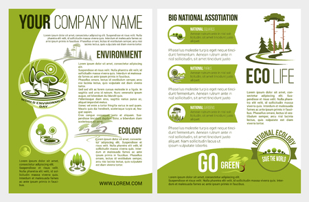 Illustration for Vector brochure for eco environment company - Royalty Free Image