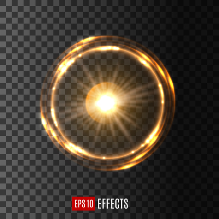 Ilustración de Gold glowing light circle with shining rings. Round light effect of bright star with swirling sparkles on transparent background for festive card decoration, magic and space design - Imagen libre de derechos