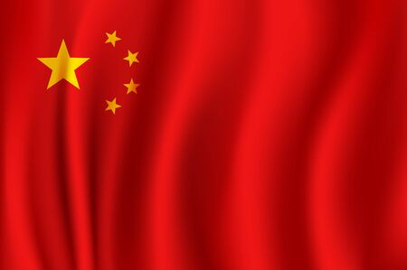 Illustration for Flag of China as 3d national banner of People Republic of China. Chinese red flag with golden stars symbol for asian history, travel and patriotism design - Royalty Free Image