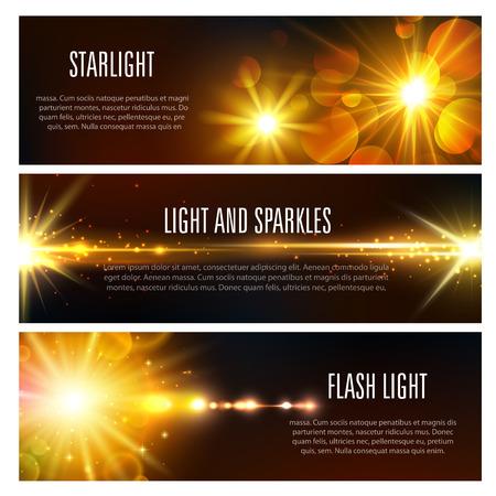 Illustration pour Banners of light flash and sparkles effect - image libre de droit