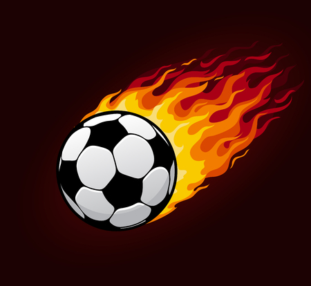 Illustration for Soccer or football ball with fire trail. Vector icon of sport ball or fireball flying with fiery flame, speed and energy for football club badge, league championship goal poster design - Royalty Free Image