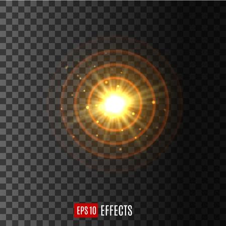 Illustration pour Light circular shine lens flare effect vector icon - image libre de droit
