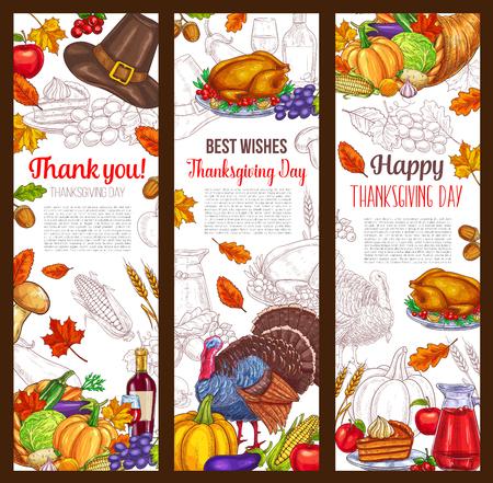 Illustration pour Thanksgiving day autumn holiday  banners - image libre de droit