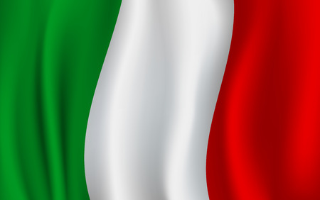 Ilustración de Italy flag 3D background of green, white and red vertical color stripes. Italian republic country official national flag waving with curved fabric or waves vector texture - Imagen libre de derechos