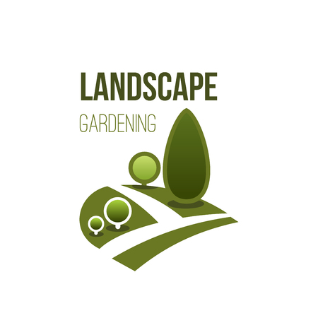 Illustration for Green tree park vector icon landscape gardening - Royalty Free Image