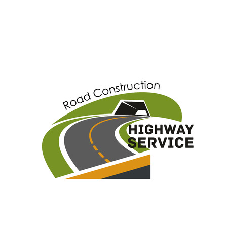 Illustration for Road highway construction service vector icon - Royalty Free Image