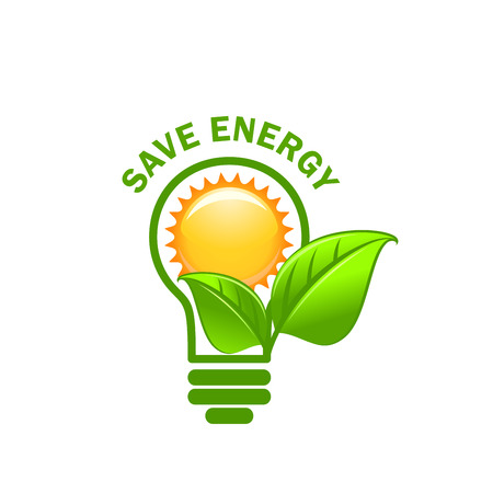 Ilustración de Green leaf sung and lamp save energy vector icon - Imagen libre de derechos